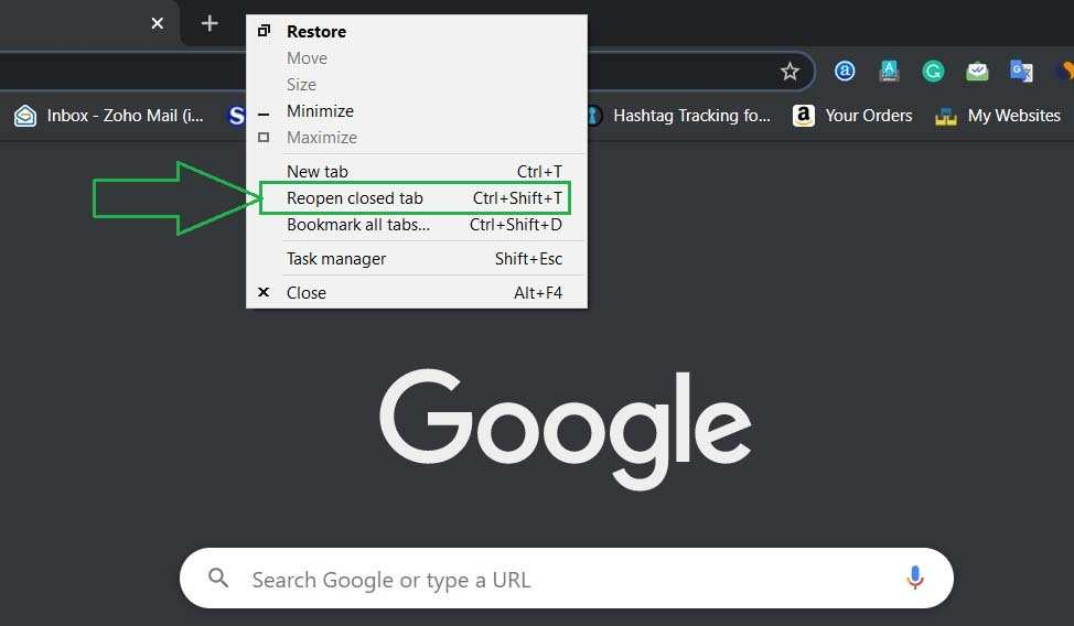 Reopen Closed Window in Google Chrome