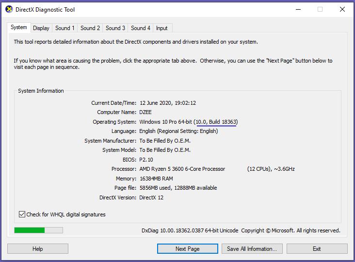 Check theWindowsBuild
