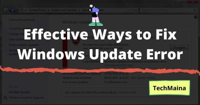 Effective Ways to Fix Windows Update Error