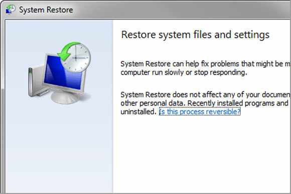 Perform a System Restore Entry Point Not Found