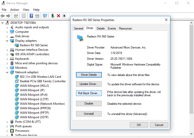 Roll Back VGA Driver in Device Manager