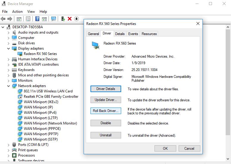 Roll BackVGADriverin Device Manager