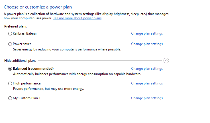 Set Battery Settings to Balanced or High Performance