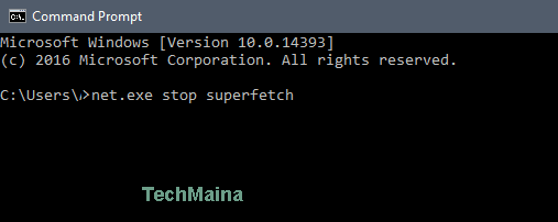 Turn off the SuperFetchService