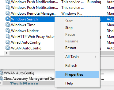 Turn off the Windows Search function
