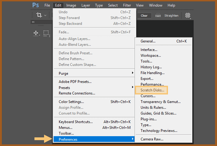 Change the Scratch Disk Location to Another Drive