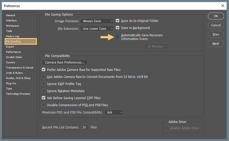 Disable Auto Recovery