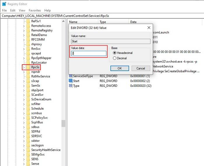 Force RPC Services To Start Using Registry Editor 1