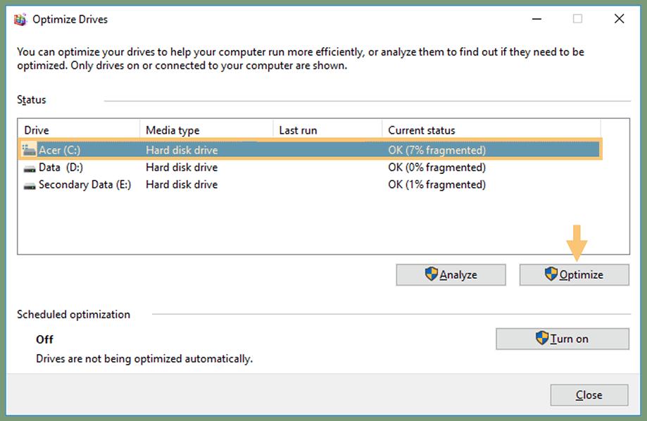 Perform a Disk Defrag