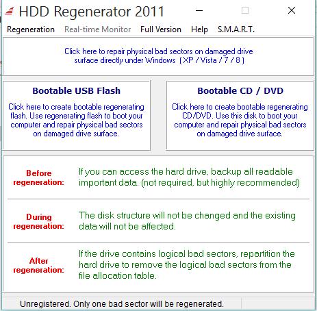repair hard drive With HDD Regenerator