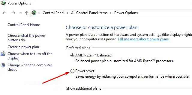 Change The Power Options Settings