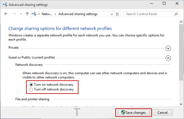 Enable Network Discovery