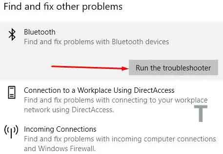 Run the Bluetooth Troubleshooter in Windows 10