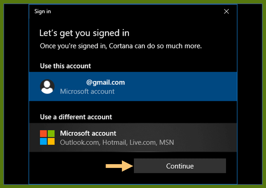 Sign in to a Microsoft Account