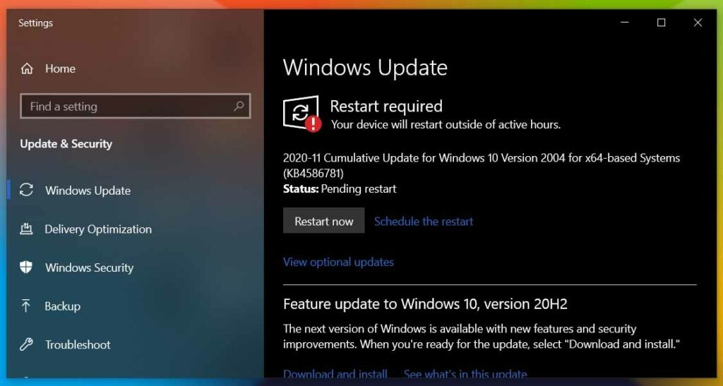 Update the Windows 10 Operating System