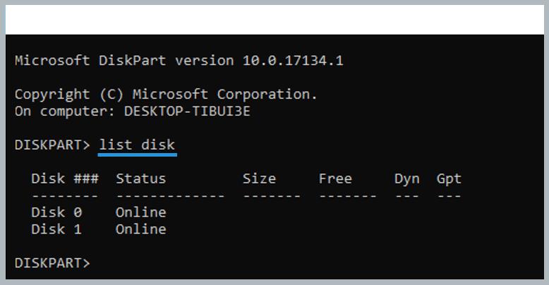 Using Diskpart