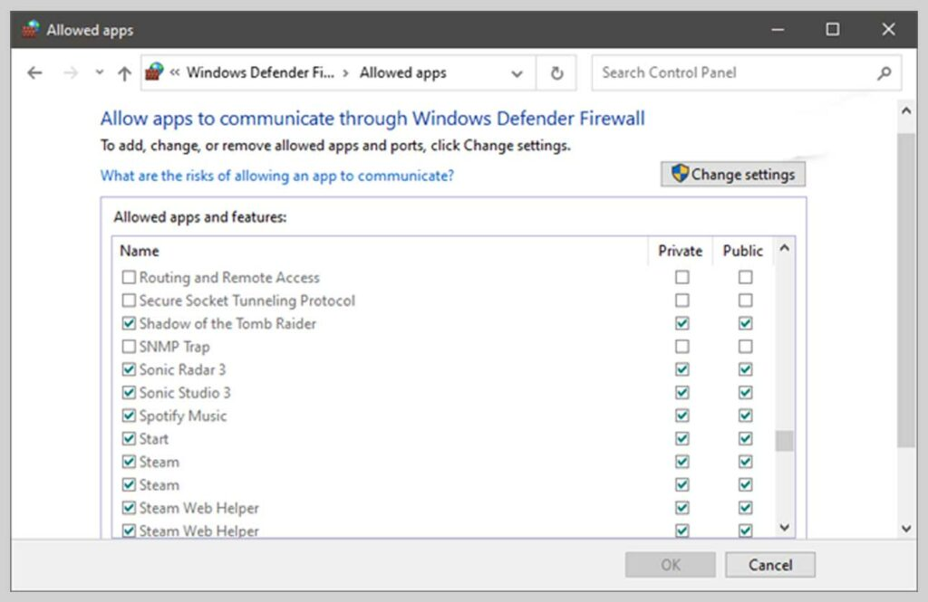 Authorize an app or feature through Windows Defender Firewall