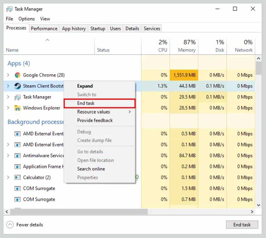 End Steam Process Using Windows Task Manager