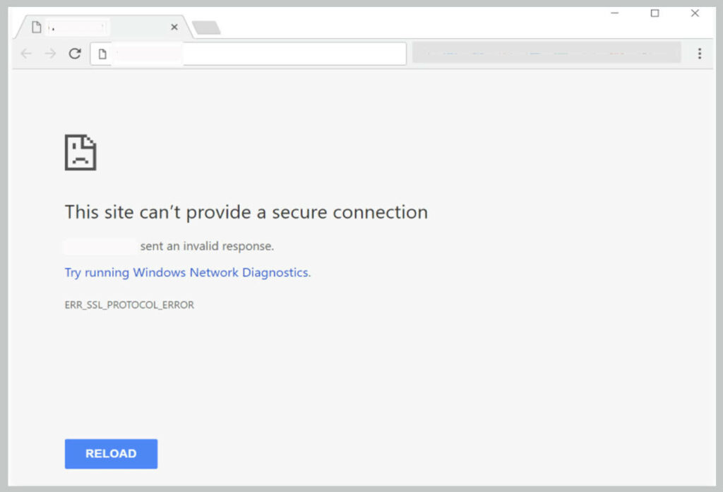Err_Ssl_Protocol_Error on google chrome