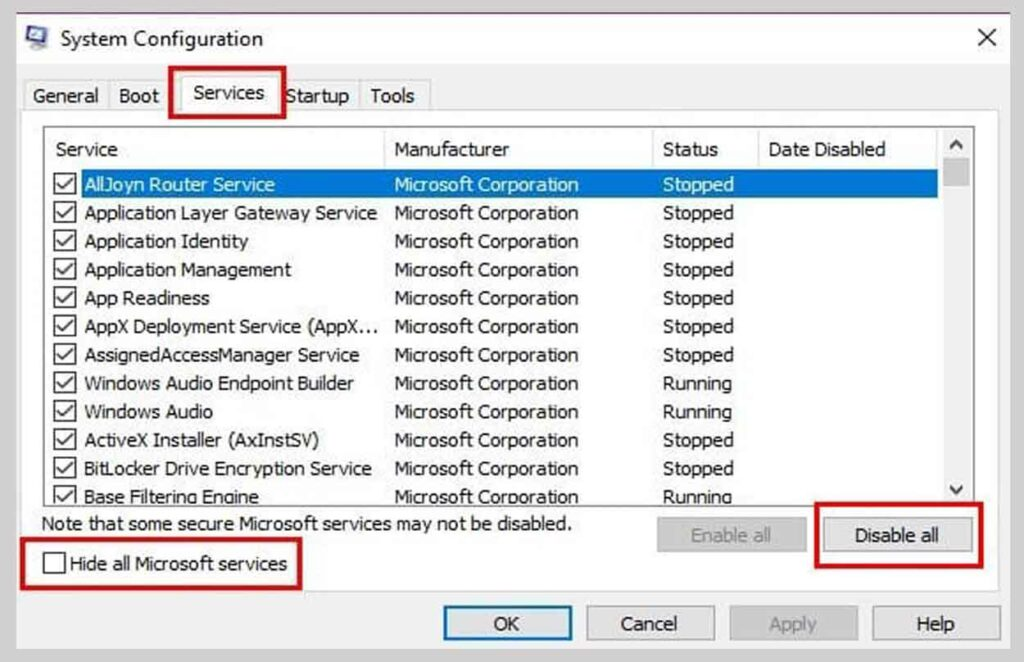 Hide allMicrosoftservices