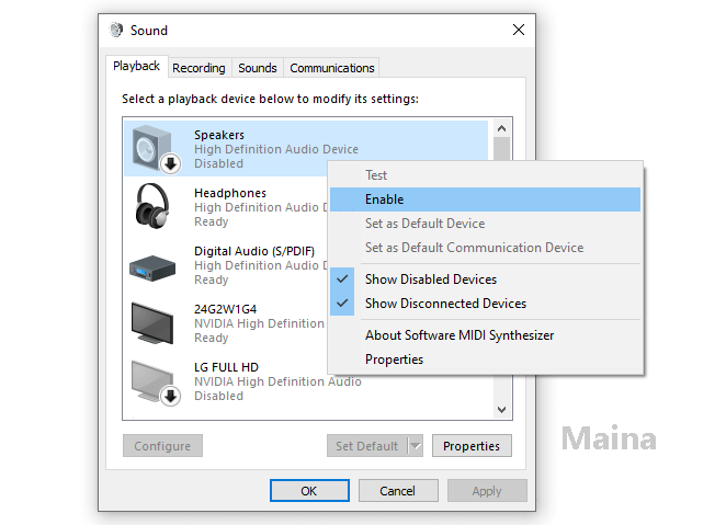 Make Sure Your Speakers Are Not Disabled