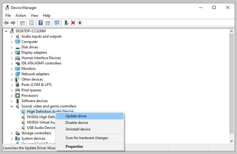 Reinstall the Default Windows Audio Driver