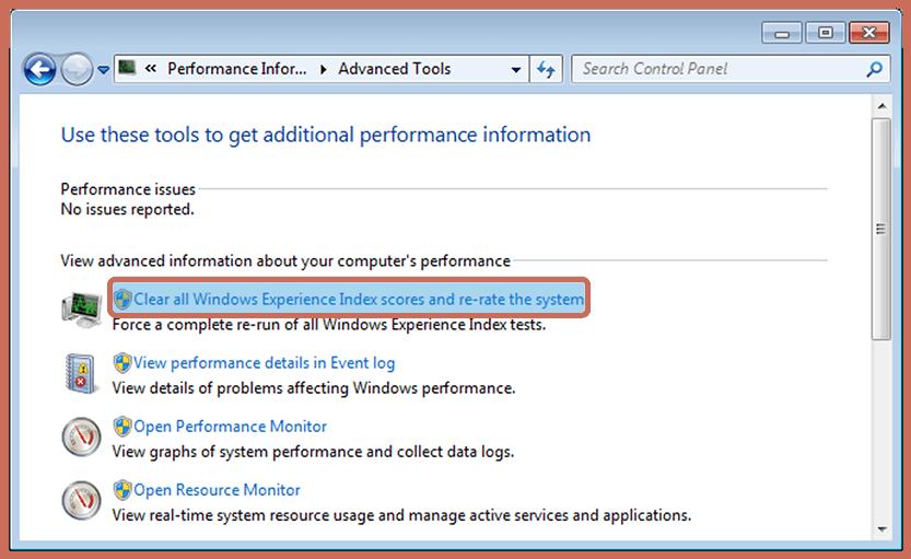 Reset Windows Experience Index
