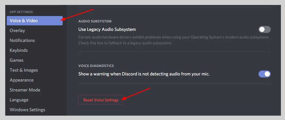 Reset voice settings button