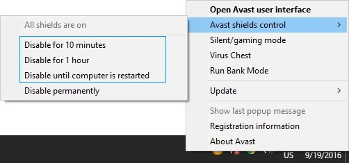 Temporarily Turn Off avast Protection