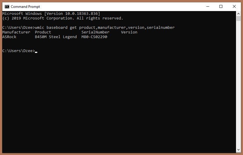 Via Command Prompt