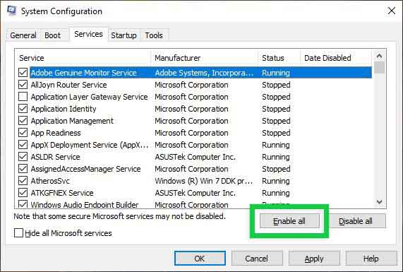 Check Windows Services (System Configuration)