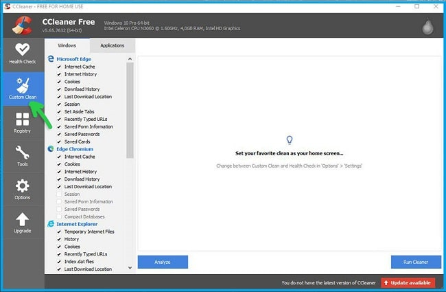 Clean Cache with CCleaner
