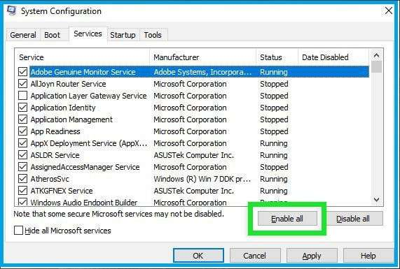 Ensure All Windows Services (System Configuration) Are Running