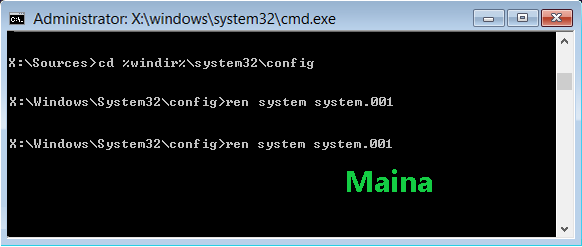 Rename System and Software Registry Hives