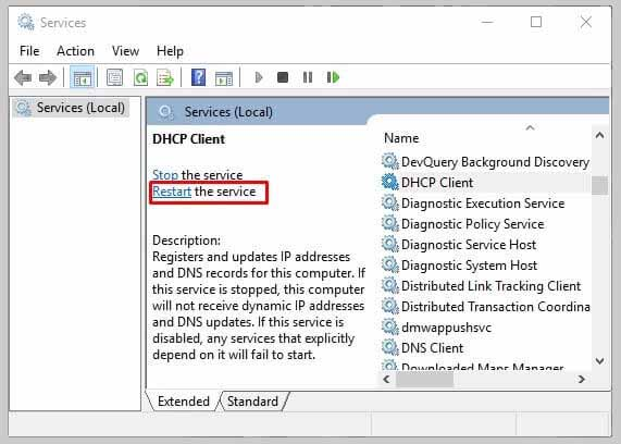 Restart The DHCP And DNS Client Service.