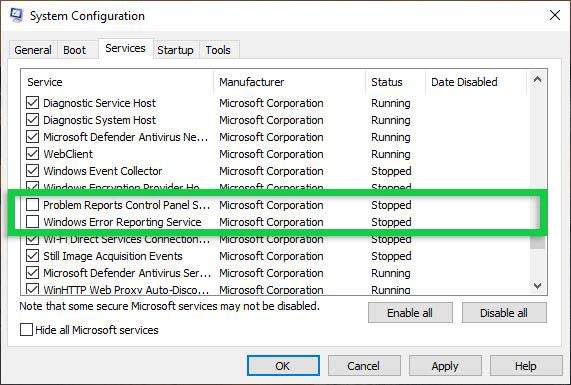 Turn off the Service System Configuration
