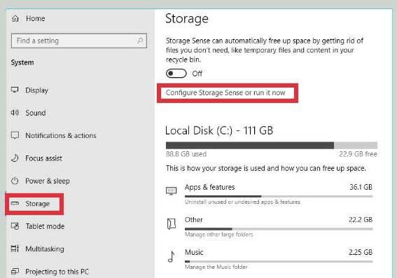 Using Windows 10's Storage Sense
