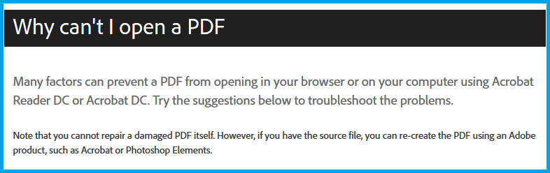 why i can't open pdf file