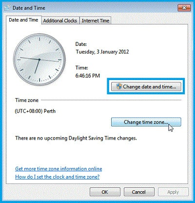 Change date and time in control panel