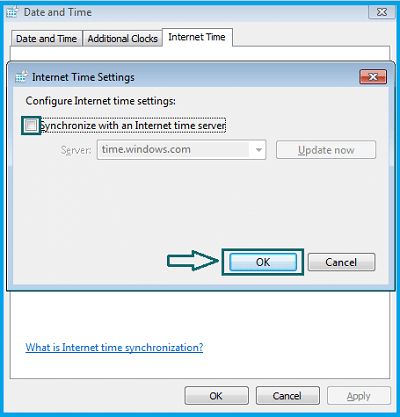Synchronize with an Internet time server option