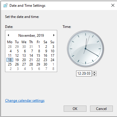 Check Date and Time Settings