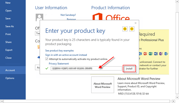 Activation Keys for Office 2013 Microsoft Professional Plus