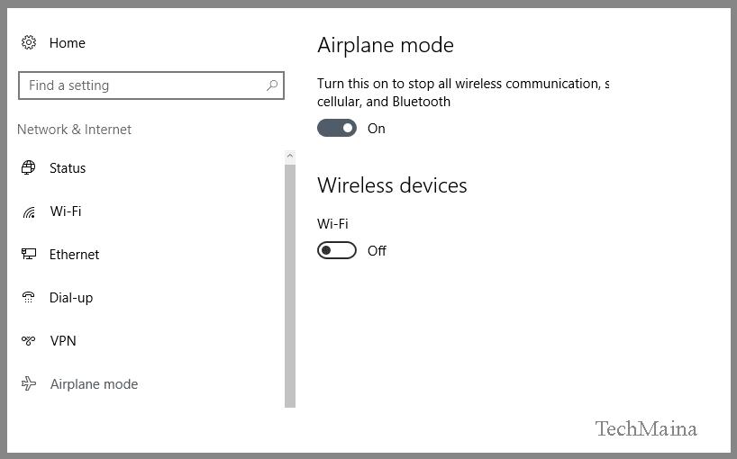 Check Airplane Mode