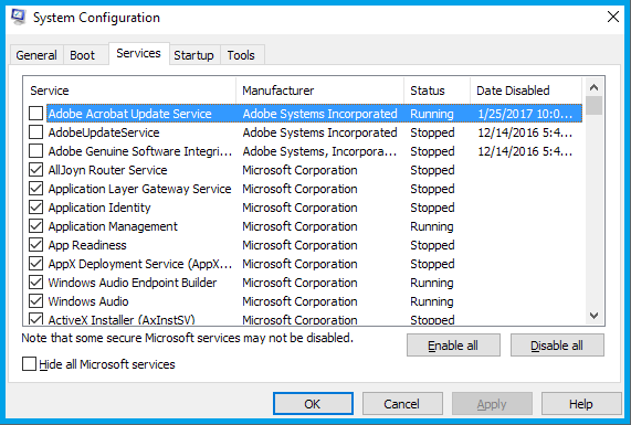 Hide all Microsoft services and disable services