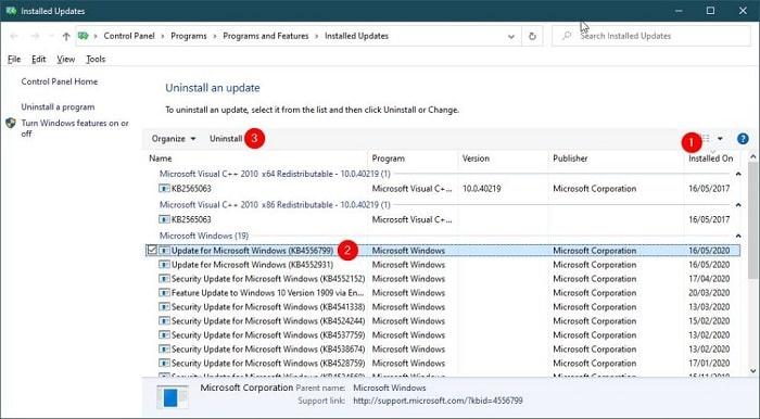 Uninstall Updates from Windows Update