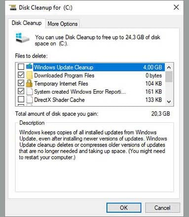 Clean Cache Using Windows Disk Cleanup