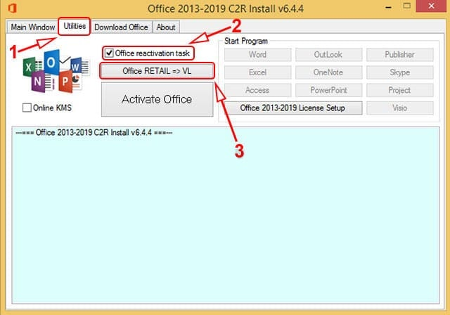 Office 2013 activation steps using KMS Office 2019