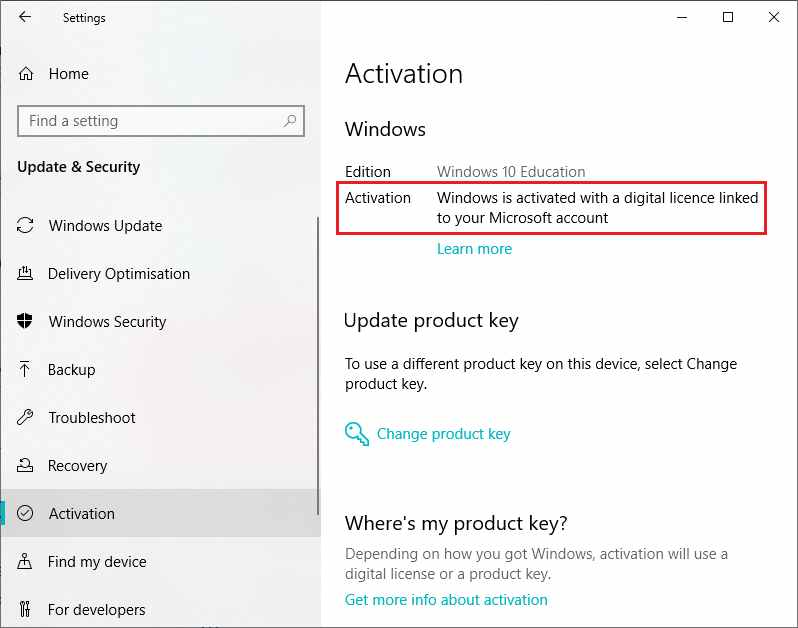Check Windows 10 Original Pirated with Settings