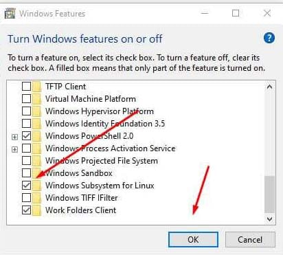 Enable Windows Subsystem For Linux Features