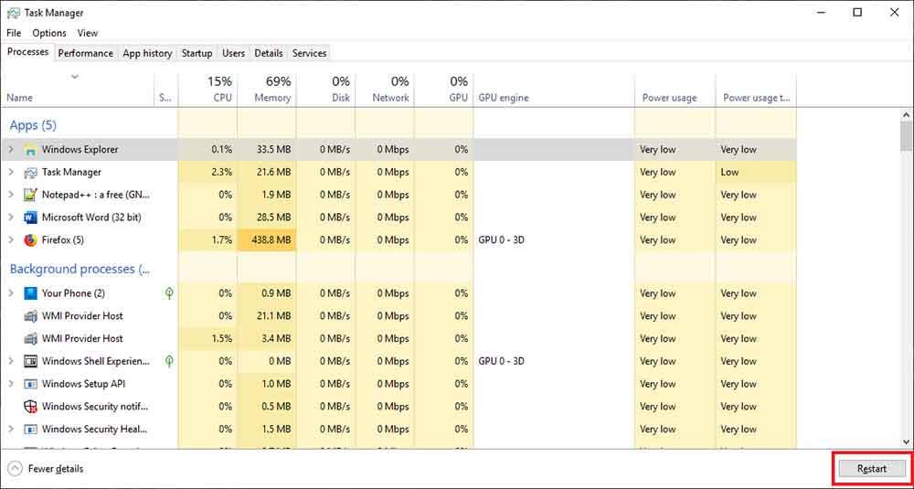 Restart Windows 10 Without Rebooting
